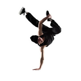 break dancer doing a one hand hand stand