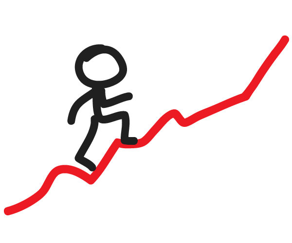 stick man hiking up a mountainous red line