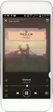 white smartphone playing volta cab on spotify