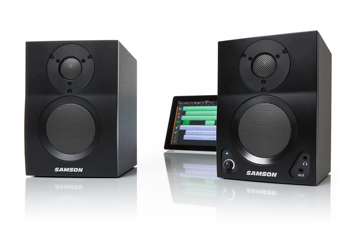 Samson MediaOne BT3 2-way active Bluetooth speakers - front view with ipad