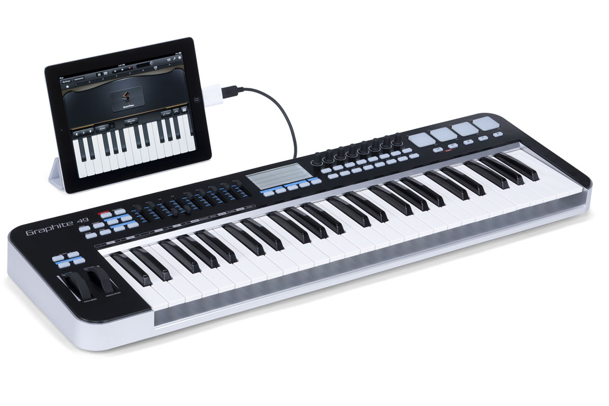 Samson Graphite 49 semi-weighted key MIDI Controller - perspective view with ipad
