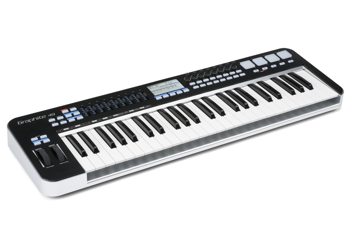 Samson Graphite 49 semi-weighted key MIDI Controller - perspective view